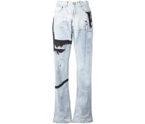 Boyfriend-Jeans im Farbklecks-Design