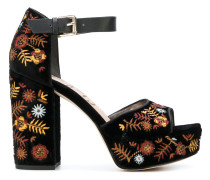 'Marsha' Samt-Sandalen mit Stickerei