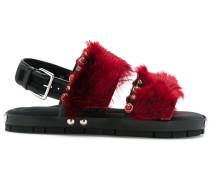Sandalen mit Lamafellbesatz