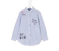 scribble print striped shirt