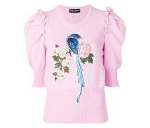 bird and floral embroidered wide sleeves sweater