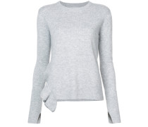 Asymmetrical Hem Sweater With Ruffle Detail
