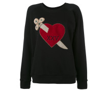 - heart dagger embroidered sweatshirt - women