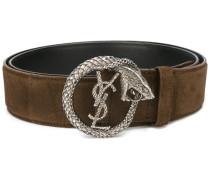 Monogram serpent buckle belt - men - Wildleder