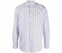 pinstripe floral-print shirt