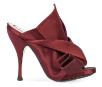 abstract bow high-heel mules