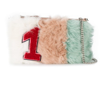 number one Shearling emblem clutch