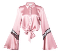 flared lace panel sleeves shirt with tie waist