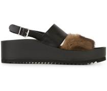 Flatform-Sandalen mit Nerzbesatz