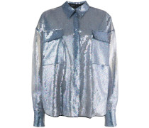 Semi-transparentes Paillettenhemd