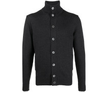 ribbed edge button-up cardigan