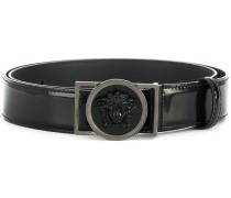 Medusa-embellished buckle belt