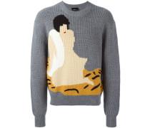 Intarsien-Pullover mit Rundhalsauschnitt