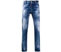 Jeans mit Farbklecks-Print