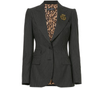 pinstripe blazer with crest appliqué