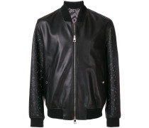 perforated leather bomber jacket