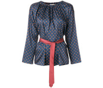 patterned belted blouse