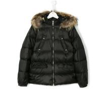 raccoon fur hooded coat