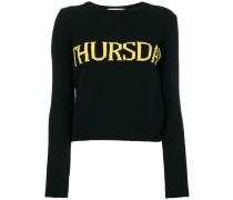 """Intarsien-Pullover mit """"Thursday""""-Motiv"""