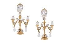 Chandelier-Ohrclips mit Kristallen