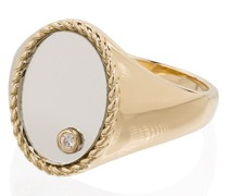 9kt Gelbgold-Siegelring mit einem Diamanten