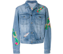 floral embroidery denim jacket