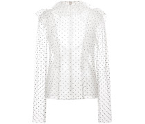 polka dot ruffle blouse