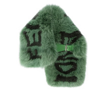 Green and Black Fox Fur Scarf