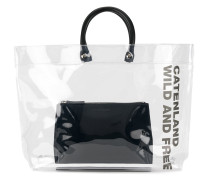clear tote bag with slogan