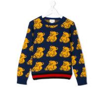 Wollpullover mit Intarsien-Teddybärenmuster