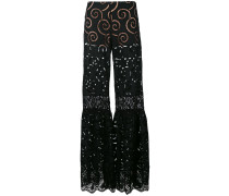 sheer flared trousers