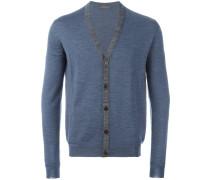Woll-Cardigan mit kontrastfarbigen Kanten