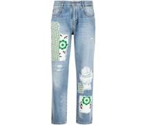 Boyfriend-Jeans im Patchwork-Look