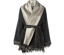 metallic belted poncho