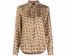 Seidenhemd mit geometrischem Print