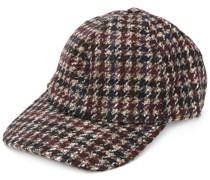 checkered baseball cap
