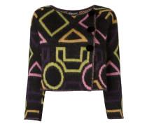 Cropped-Jacke mit geometrischem Print