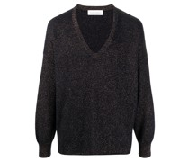 Metallic-Pullover mit V-Ausschnitt