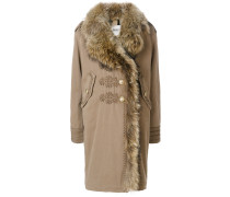 embroidered details shearling coat