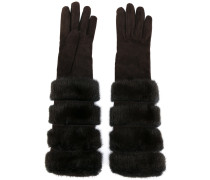 furry long gloves - women