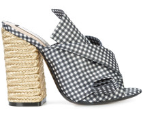 gingham abstract bow mules