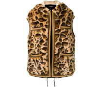 leopard print faux fur gilet