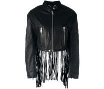 fringed cropped leather jacket