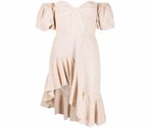 polka dot-embroidered drop-shoulder dress