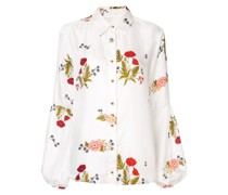 'Bonjour' Bluse mit Blumenmuster