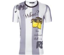 lemon print striped T-shirt
