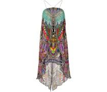 overlay strapless draped dress