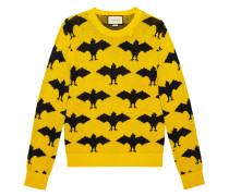 Bat jacquard crewneck sweater