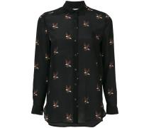 Seidenhemd mit Adler-Stickerei
