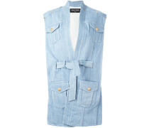 oversize belted denim jacket - women